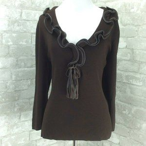 Cyrus Sweater Brown Leather Trim Tassels Ruffle L